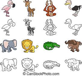 ilustraciones, caricatura, safari, animal