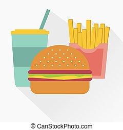 ilustraciones, cola, un, hamburguesa, francés, fries., porquerías