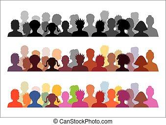 ilustraciones, conjunto, audiencia