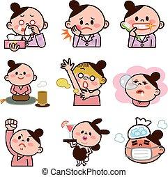ilustraciones, conjunto, mujeres jóvenes