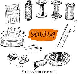 ilustraciones, conjunto, sewing.