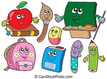 ilustraciones, escuela, colecciones, caricatura