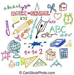 ilustraciones, escuela, -, espalda
