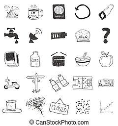 ilustraciones, garabato, conjunto, 25