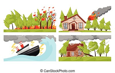 ilustraciones, huracán, natural, conjunto, fuego del bosque...