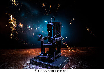 ilustraciones, miniatura, eléctrico, dark., decoration., muerte, silla, creativo, pena