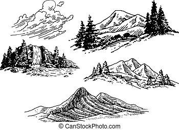 ilustraciones, montaña, hand-drawn