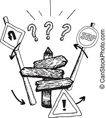 ilustraciones, postes, señal