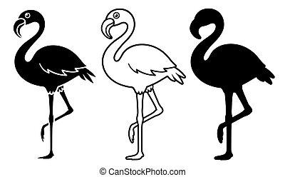 ilustraciones, silueta, vector, flamenco