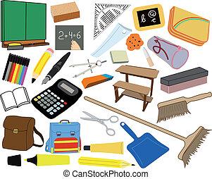 ilustraciones, suministros, escuela