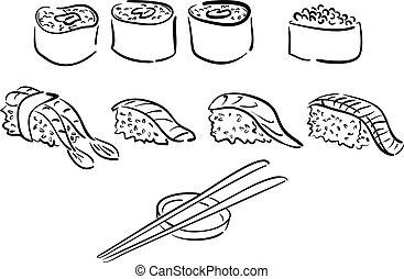 ilustraciones, sushi, aislado