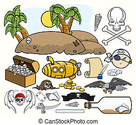 ilustraciones, vector, conjunto, pirata