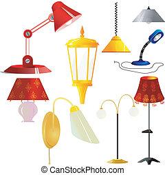 ilustraciones, vector, lámparas, colección