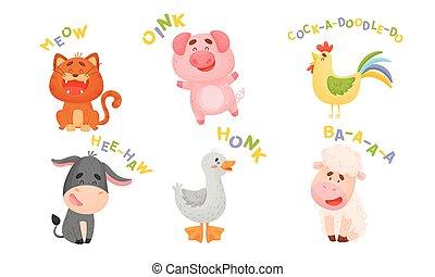 ilustraciones, vector, sonidos, caricatura, lindo, elaboración, juego de animal