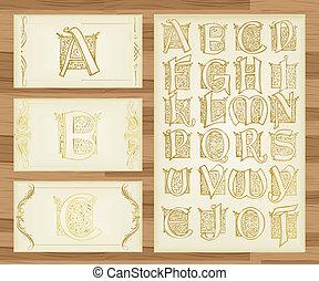 ilustraciones, vendimia, alfabeto