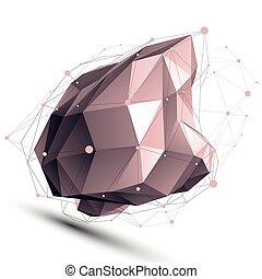 ilustracja, abstrakcyjny, asym, wektor, tech, perspektywa, geometryczny, 3d