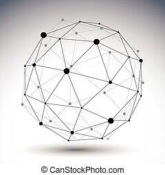 ilustracja, abstrakcyjny, wektor, perspektywa, geometri, technologia, 3d