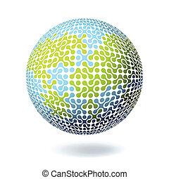 ilustracja, afisz, concept., eps10., stosunek, wektor, projektować, ziemia, template.