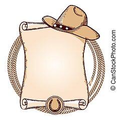 ilustracja, amerykanka, lasso., kapelusz, wektor, kowboj