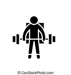 ilustracja, atleta, -, odizolowany, znak, wektor, ciężary, tło, ikona, czarnoskóry, silny, podnoszenie