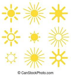 ilustracja, biały, odizolowany, tło, słońce, wektor, komplet, ikona