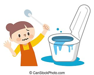 ilustracja, biały, zdziwiony, backwash, gospodyni, tło, toaleta, młody