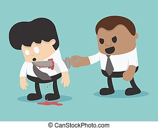 ilustracja, biznesmen, szantaż, pojęcie