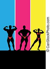 ilustracja, bodybuilding., wektor