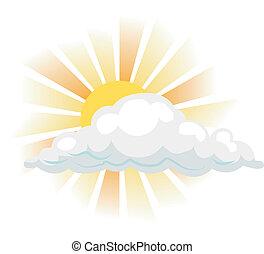 ilustracja, chmura, słońce