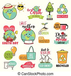ilustracja, cliparts, ziemia, oprócz, dzień, szczęśliwy