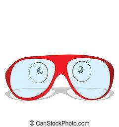 ilustracja, czerwony, okulary