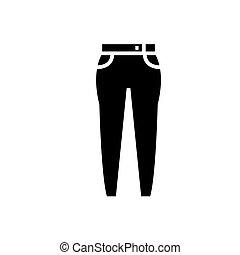 ilustracja, dżinsy, odizolowany, znak, wektor, czarne tło, ikona