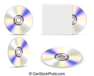 ilustracja, disk., cd, wektor