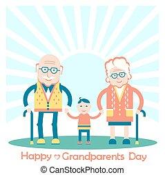 ilustracja, dziadkowie, grandchild., rodzina, wektor