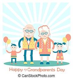 ilustracja, dziadkowie, rodzina, wektor, grandchildren.