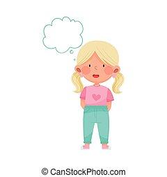 ilustracja, emoji, kucyki, wektor, dziewczyna, mindedness, czuły, nieobecny