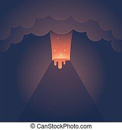 ilustracja, erupting wulkan
