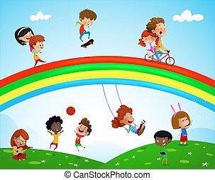 ilustracja, ethnicities, różny, dzieciaki, interpretacja