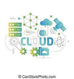 ilustracja, formułować, kwestia, chmura