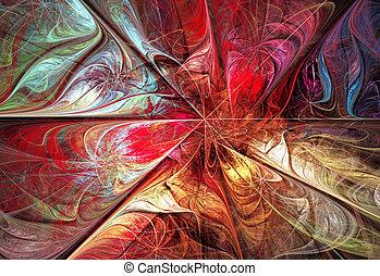 ilustracja, fractal, tło, z, jasny, jesień, kwiatowy, stuk