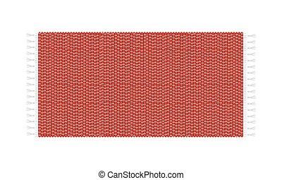 ilustracja, górny, kilim, odizolowany, tło., wektor, biały, prospekt., czerwony dywan
