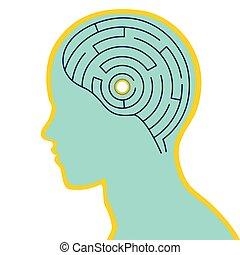 ilustracja, głowa, mózg, labirynt, ludzki, wektor