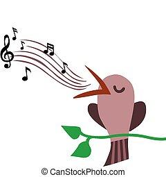 ilustracja, gałąź, perched, śpiew ptaszek, melodia