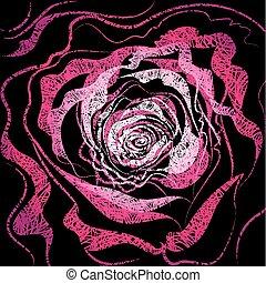 ilustracja, grunge, róża