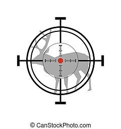 ilustracja, icon., jeleń, tarcza, polowanie