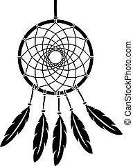 ilustracja, indianin, krajowiec, wektor, dreamcatcher, talizman, amerykanka