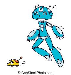 ilustracja, interpretacja, biały, toy., robot, wektor, ...