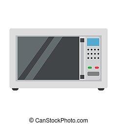 ilustracja, jadło, symbol, gotowanie, odizolowany, mikrofala, wyposażenie, wektor, projektować, white., piec, ikona, rodzina, kuchnia
