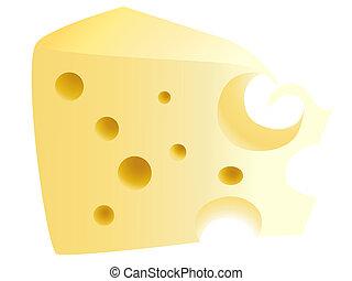 ilustracja, kawał, ser, żółty, smakowity