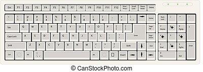 ilustracja, klawiaturowy komputer, wektor